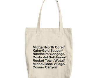 FF7 Final Fantasy VII 7 World Locations Tote Bag