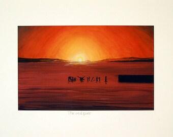 Vibraint seascape print/Scottish seascape art/A3/A4/Sundown oil painting giclee print/Home and office decor/seascape oil painting/pier art