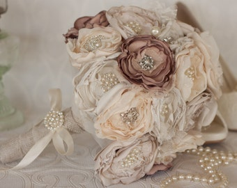 Fabric Flower and Brooch Wedding Bouquet, Ivory, Cream and Dusty Pink, Satin, chiffon and Burlap Bouquet