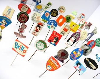 15 advertising stick pins, vintage pins from sixties and seventies