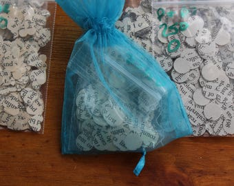 250 piece Jane Austen Book Page Confetti - 3/8 inch small confetti - heart or round confetti -  Wedding decorations - Party decor