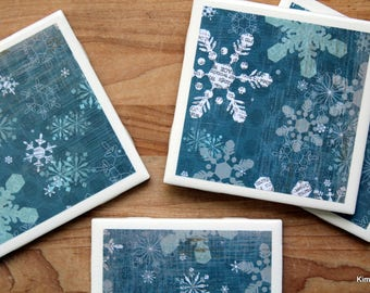 Snowflake Coasters   Christmas Coasters   Coasters   Drink Coasters   Tile  Coasters   Ceramic Coasters