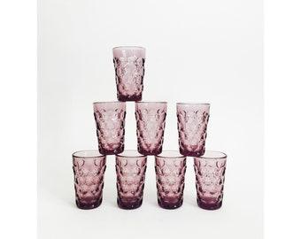 Vintage Purple Juice Glasses / Set of 8
