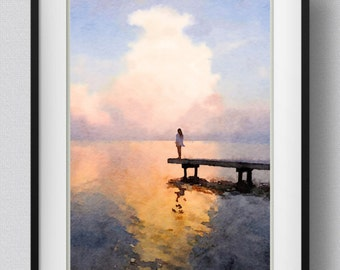 Watercolor Sunset Painting Wall Art Print Ocean Sunset Ocean Bedroom Decor Gift  Pic No 38