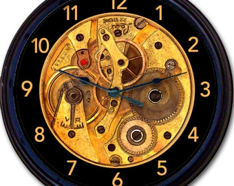 """Steampunk, Gears, Wall Clock, Image of Clock Works, Clock Works, Gothic, Vintage, Victorian, Goth, New 10"""""""