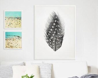 Grande plume impression Oversize Art / / polka Dot plume imprimé Original / / décoration moderne / / grande échelle photographie / / nature morte