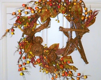 """Harvest Wreath with Grapevine Star, Berries, Gourds on a Birch Branch Base 24 x 20""""  Wreath, Perfect for Your Entrance, Living Room, Dining"""