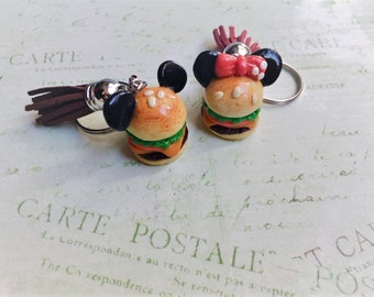 Cute Micky and Minnie Hamburger Keychain with Tassel, Handmade Polymer Clay Accessories/Jewelry, Mother's Day Gift, Unique Gift
