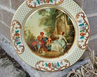 Vintage Daher Shabby Chic Victorian Themed Metal Tin Decorative Plate ~ 8\  Diameter & Daher tin plates | Etsy