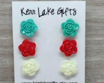 Rose Earring set, Rose earrings, Rose studs, plastic post stud earrings, Flower studs, Flower earrings, Earring gift set, Red Teal White