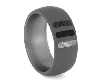 Sandblasted Titanium Wedding Band With Three Stripes, Meteorite Ring With Dinosaur Bone And Blackwood, Personalized Fossil Ring