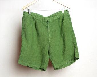 chino de lin Vintage SHORTS vintage fin des années 90 seinfeld électrique mousse vert taille 36 tour de taille