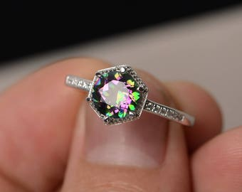 Mystic Topaz Ring Sterling Silver Ring Rainbow Topaz Ring Round Cut Gemstone Jewelry