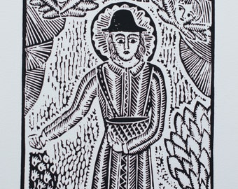 "Traditional Lithuanian Woodcut ""Saint Izidorius"" by Odeta Brazeniene"