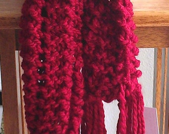 knit scarf - hand knit scarf - red knit scarf - fashion knit scarf - acrylic knit scarf - red scarf - red hand knit scarf - scarf