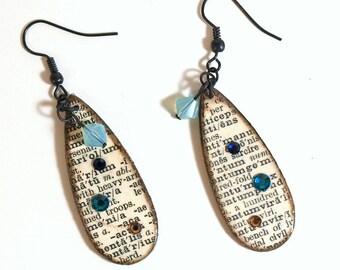 Dictionary Print Earrings Decoupaged Crystal Drop Aqua Blue Teardrop Dangle Librarian Teacher Gift for Her