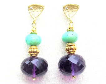 Chrysoprase & Amethyst Earrings with 22k Gold Vermeil