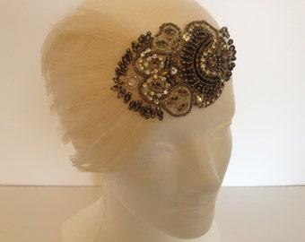 Champagne dress headband, flapper headpiece, 1920s Headpiece, Great Gatsby Headband, Great Gatsby Dress, Flapper Dress, Flapper headband