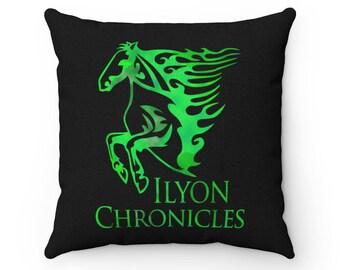 Ilyon Chronicles Green Horse Spun Polyester Square Pillow