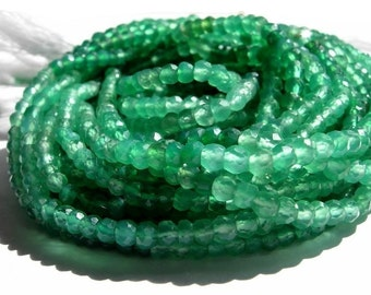 AAA Shaded Green Onyx Micro faceted rondelles 14 inch strand 3.5mm size