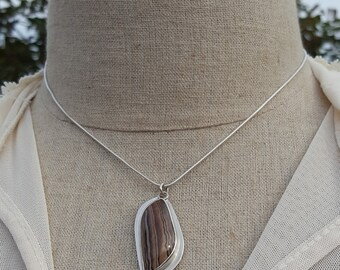 Fossilized Wood, sterling silver, bezel pendant, handmade jewelry, fossil pendant, fossil necklace, wood pendant, sterling silver necklace