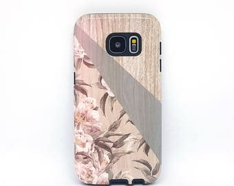 For tough galaxy s6 case, for galaxy s7 case, for galaxy s3 case, for samsung s5 case, for galaxy s8 case, for galaxy case - Floral Wood
