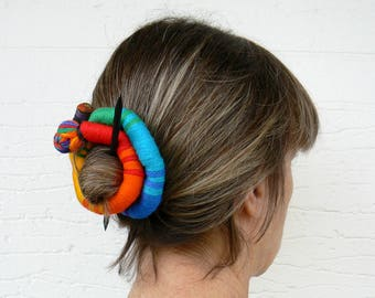 Stick Slide Fascinator, Rainbow jewelry, Ethnic bun holder, Shawl brooch, Large hair barrette, Colorful Thick hair clip, Ponytail holder
