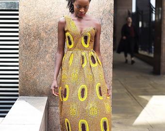 African print Dress, Maxi Dress, One shoulder dress, Evening Dress, Scholla Dress