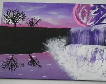 Purple Majesty Falls Waterfalls 11 x 14 Original acrylic painting