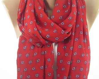 Mothers Day Gift For Her Floral Red Scarf Shawl    Fashion Travel Gift for  Gift for Girlfriend Gift For Mom Holiday clothing gift