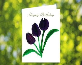 Tulip Birthday Card Download: Watercolor Purple Birthday Card - Purple Tulips - Digital Download - Downloadable Card - Birthday Card for Her