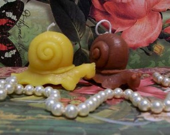 2 Beeswax Snail Candles