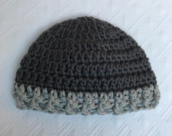 Newborn crochet hat Pewter and Light Gray