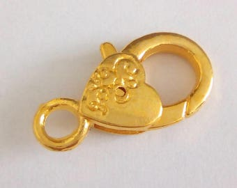 Gold plated lobster clasp filigree 26x13mm
