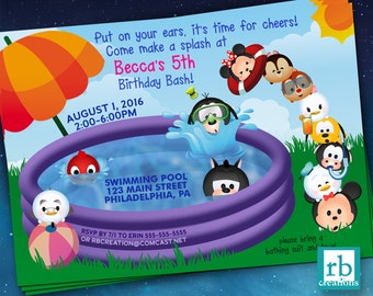 Pool Party Invitation Tsum Tsum Party Pool Party Birthday