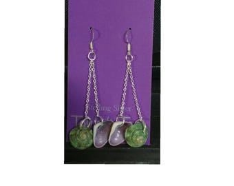 Island Inspired Turbo Shell Tops and Purple Shell Earrings 2""