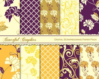 Scrapbook Paper Pack Digital Scrapbooking Background Papers FLOWERS Floral SWIRLS Plum Gold Yellow White 10  8.5 x 11 1442gg