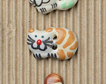 5 Fun Cat Buttons, Kitten Buttons, Handmade, Fully Washable, Incomparable Buttons, ButtonMad