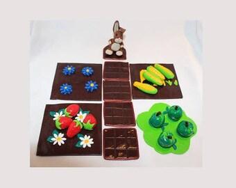 Game for children 3-5, the garden, rabbit, but, strawberry, Apple