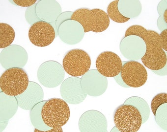 Mint & Gold Party Confetti - Mint Green and Gold Party Decorations - Mint Birthday Decor - Mint and Gold Baby Shower Decor - Mint Wedding
