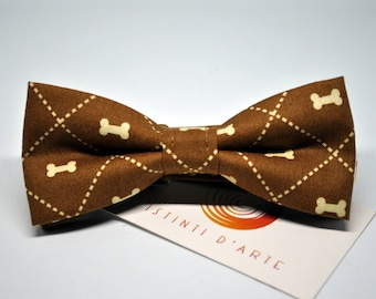 Brown Handmade bow tie for men with small bones