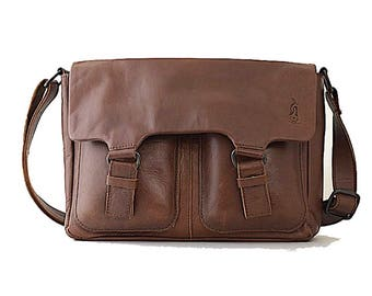 Monaco Real Leather Brown Messenger Bag