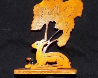 Handmade wood  deer scene