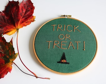 Trick or Treat! Halloween Embroidery Art, Hand Embroidery, Wall Hanging, 6 inch Hoop