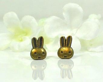 Bunny Rabbit Post Earrings Eenie Meenie - Bronze Bunny Rabbit Jewelry - Bunny Earrings - Pet Rabbit -Woodland Animal - Bunny Jewelry -Kawaii