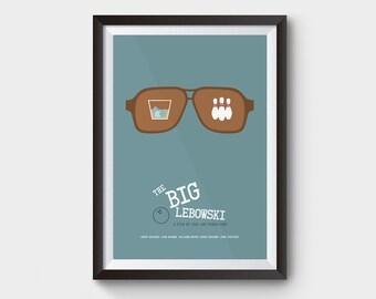 "THE BIG LEBOWSKI - A3 (12x16"") movie, film poster, minimalist movie poster, coen brothers, the dude abides, big lebowski art, bowling"