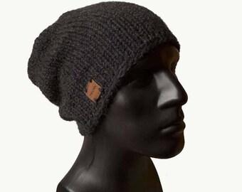 Mens Knit Hat, Mens Beanie, Beanie Hat, Mens Slouchy Beanie, Mens Winter Hat, Charcoal Beanie, Warm Winter Hat, Urban Style, Alpaca Hat