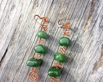 British Columbia Jade and Copper Earrings