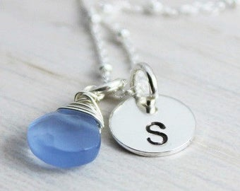 Personalized Initial Necklace, Initial Jewelry, Pendant Necklace, Girlfriend Gift, Beach Inspired Gift,