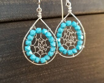 Swarovski Crystal Wire Crafted Earrings with .935 Argentium Silver (Non-Tarnish & Hypoallergenic)